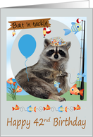 42nd Birthday, Raccoon fishing holding a line of cute fish on a pole card