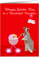 Gotcha Day or Adoption Anniversary to adopted daughter, raccoon card