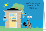 Invitations, Father's Day Barbecue, Raccoon grilling, birds on blue card