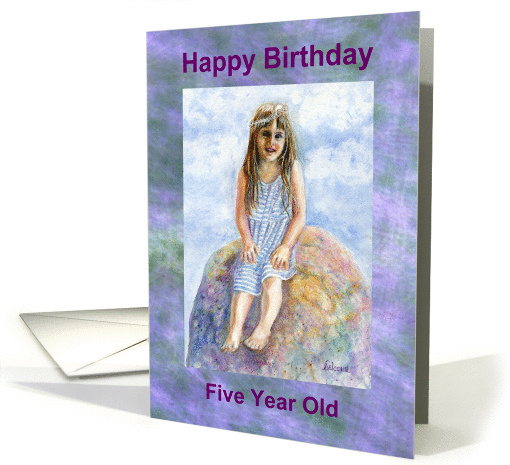 Five Year Old Girl's Birthday card (862619)