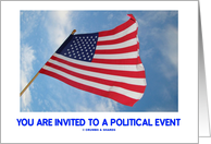 You Are Invited To A Political Event (United States Flag In The Wind) card