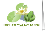 Happy Leap Year Day To You! Frog Lily Pad Pond Water Lily card