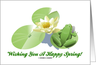 Wishing You A Happy Spring! Frog On Lily Pads card