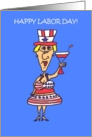 Happy Labor Patriotic Woman Character Card