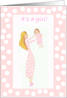 New baby adoption announcement, mum holding up baby girl card