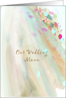 Our wedding menu, soft flowing pastel colors card