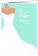 Debut party Invitation, white dress on aqua card