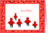 Happy Birthday, ladybugs red black yellow card