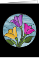 Spring Tulips Hello Stained Glass card