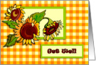 Sunflowers and Gingham Get well card