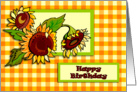 Sunflowers and Gingham Birthday card