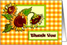 Sunflowers and Gingham Thank You card