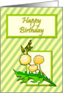 Dandelions on Striped Background Birthday Card