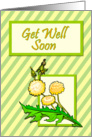 Dandelions on Striped Background Get Well Soon card