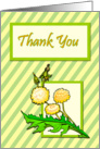 Dandelions on Striped Background Thank You card