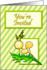 Dandelions on Striped Background Invitation card