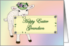 Grandson's Happy Easter Lamb holding sign card