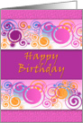 Pink, Purple and Swirls Birthday Greeting card