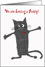 Invitation to Birthday Party, crazy cat.humor card
