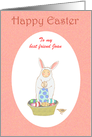 Happy Easter, Easter bunny suit,little child and eggs.Custom card