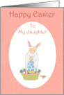 Happy Easter, Easter bunny suit,little child and eggs.to daughter card