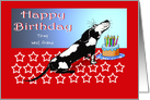 Happy birthday, black and white dog, cake,candles.custom text card
