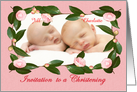 Invitation to Christening, for twins,custom camellia frame, card