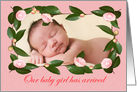 Birth of baby girl announcement,custom pink camellia frame, card