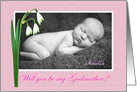 Will you be my Godmother?,For girl,pink,Snowdrops, custom photo card