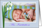 An Invitation to naming ceremony,For boy,blue,Snowdrops, custom photo card