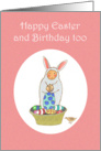 Happy Birthday, and Easter, Girl in bunny suit,for girl, for child. card