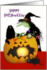 Happy Halloween , Witch with cat , spider and pumpkin, card