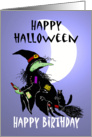 Happy Halloween and happy Birthday , Witch with cat on broomstick, with moon card
