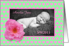 New baby, pink rose and love hearts, photo card. card
