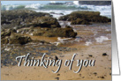 Thinking of you, across the miles, rocks and waves card