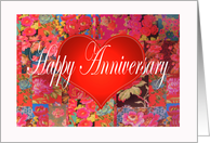 Anniversary Heart transplant, red love heart, and flowers card