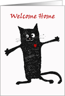 Welcome home, crazy black cat.from the cat, fur baby. card