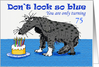 Happy Birthday, custom age card, sad dog and cake with candles.humor card