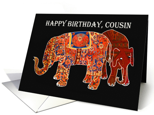 Happy Birthday Cousin, two Persian patterned elephants. card (1297872)