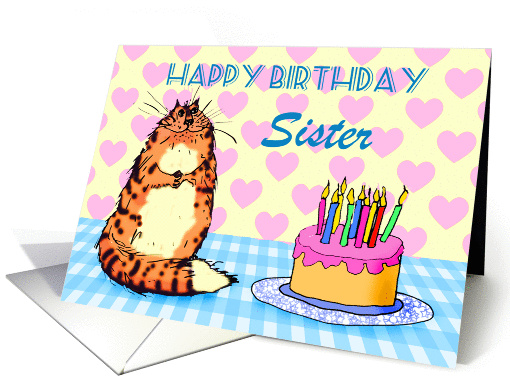 Happy Birthday,For Sister, cat, cake and candles, card (1305944)