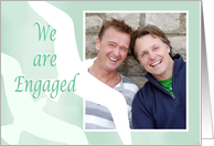 We are engaged,Gay /lesbian custom photo, two birds, pale green. card