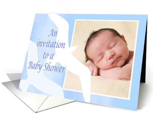 Invitation Baby shower,custom photo, two birds,pale blue, for boy card