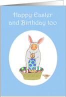 Happy Birthday, and Easter too.Boy in bunny suit with eggs, for boy. card