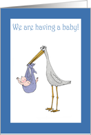 We are having a baby.stork and baby,humor card