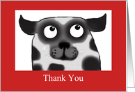 Spotty Dog,Thank you pet sitter , black and white, red border card