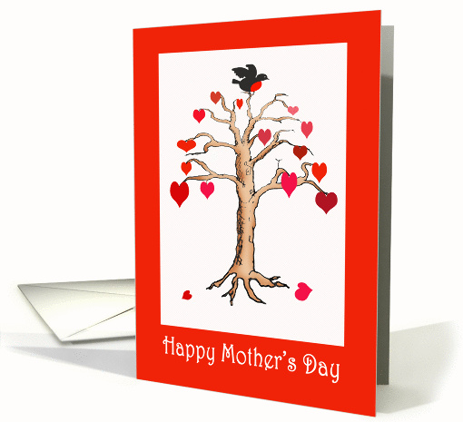 Happy Mother's Day Day, Heart tree and bird, card (828761)