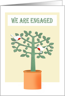 We are Engaged announcement .two birds and tree. card
