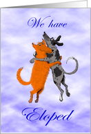 We have eloped, two dogs jumping, humor. card
