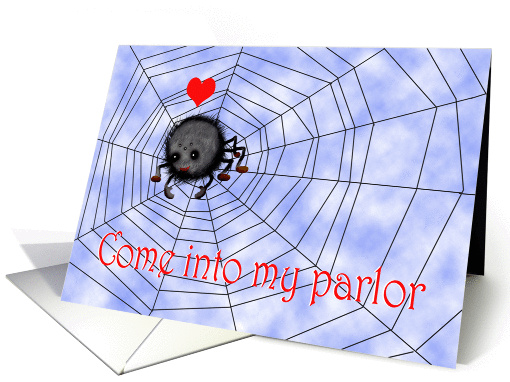 Come into my parlor, spider and love heart, humor. card (897650)