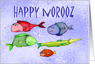 Happy Norooz, swimming fish, humor, from our house to yours card